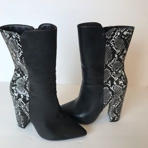 JustFab boots snake heels, size 7